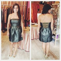 Our Lucia customer Amanda was looking for a new dress to go with her gorgeous shoes. We think this metallic stunner by @Ya LosAngeles fits the bill!