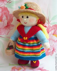 """Человечки ручной работы. Заказать """"Девушка с лукошком ягод"""" вязаная кукла. Светлана Забелина вязаные игрушки. Ярмарка Мастеров. подарок"""
