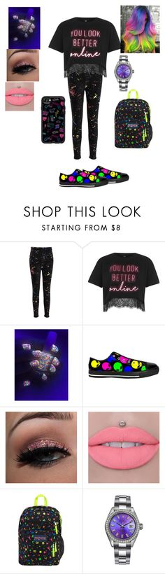 """Neon Lights"" by djmoonst0ne ❤ liked on Polyvore featuring River Island, JanSport, Rolex and Casetify"