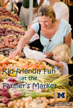 Check out these ideas for family fun at the Farmer's Market! Great kid activities for healthy eating. Check out MottBlog.org for more kid nutrition information and activity ideas!