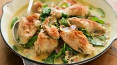 A brilliant display of the versatility of the frying pan, with the entire dish cooked in one pan. Duck Recipes, Meat Recipes, Chicken Recipes, Cooking Recipes, Chicken Meals, Savoury Recipes, Mustard Cream Sauce, Cream Sauce Recipes, One Pan Chicken
