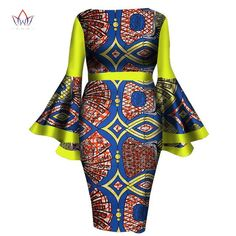 Image of African Women Dress Lady Print Wax Dresses Bazin Africa Sexy sleeves Dress - Owame Elegant Dresses For Women, African Dresses For Women, African Women, African Outfits, African American Fashion, Church Fashion, African Fashion Designers, Calf Length Dress, Plus Size Fashion For Women