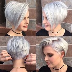 20 Most Popular Short Hairstyles For Women - Stylendesigns Melissa Short Hairstyles - 8 Short Stacked Hair, Short Grey Hair, Short Blonde, Back Of Short Hair, Short Hair Cuts For Women Thin, Stacked Hairstyles, Popular Short Hairstyles, Short Hairstyles For Women, Short Undercut Hairstyles