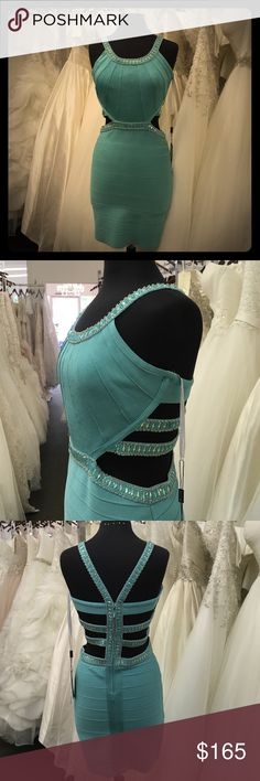 🎉ONE DAY SALE 🎉 NWT Lucci Lu style #9009 Aqua banded style dress with beaded straps and cutout back. Has a lot of stretch to the dress so you could go up or down a size. Comes with extra beads,thread and hook and eye if needed. Offers welcome. Lucci lu Dresses Mini
