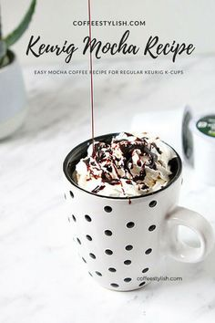 Keurig coffee recipes: How to make a mocha with Keurig, k cup mocha recipe Keurig Recipes, Coffee Drink Recipes, Starbucks Recipes, Coffee Drinks, Espresso Recipes, Tea Recipes, Recipies, Cafe Mocha Recipe, Cappuccino Recipe