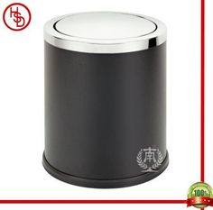 HOUSED-豪仕达,酒店用品/hotel articles#GPX-205 dustbin#翻盖:0.7mm201#镜钢;桶身:0.5mm黑色铁烤漆;桶底:橡胶圈;圆形单层桶/swinging cover: 201# stainless steel(mirror finished); body: black iron with paint coated; bottom: rubbber ring;round shape, 1-layer #size:24.5*29.5CM