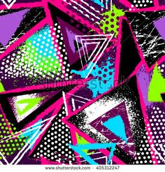 Abstract seamless chaotic pattern with urban geometric elements, scuffed, drops, triangles, spots, sprays Grunge neon texture background. Wallpaper for boys and girls