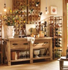 FRENCH WINE BOTTLE RIDDLING RACK via pottery barn