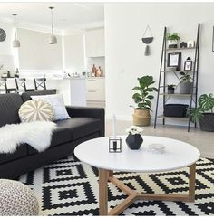 modern living room country living room living room furniture living room decor ideas small living room on a budget. - October 05 2019 at Living Room White, Living Room On A Budget, Home Living Room, Interior Design Living Room, Living Room Furniture, Living Room Designs, Apartment Living, Black And White Living Room Ideas, Rustic Furniture