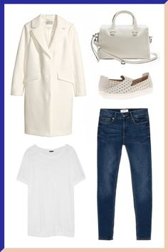 J.Crew Slub-Cotton Jersey T-Shirt, $40, available at NET-A-PORTER; H&M Coat, $79.95, available at H&M; Banana Republic Soft Leather Small Duffle, $150, available at Banana Republic; Rachel Zoe Burke Sneakers, $195, available at Shopbop; Mango Skinny Elektra Jeans, $69.99, available at Mango