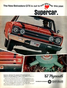 1967 Plymouth GTX car ad from Car Craft magazine in 1966