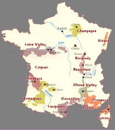 France wine producing regions map