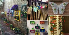 Awesome Ways to Display Your Planters on The Wall Decor paint System software Windowing systems Flower Wall, Flower Pots, Outdoor Walls, Outdoor Living, Old Wooden Crates, Old Window Frames, Best Front Doors, Wood Butterfly, Hanging Herbs