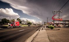 july, 2015, kingman at the famous route 66, shortly before a thunderstorm