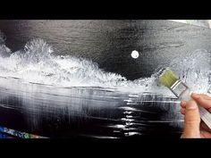 Black and White / Landscape / Demo 125 / Moon Reflection / Acrylics / Pa… Svart og hvitt / Landskap / Demo 125 / Moon Reflection / Akryl / Pa … Acrylic Portrait Painting, Abstract Painting Techniques, Acrylic Painting Tutorials, Painting Videos, Eye Painting, Drawing Techniques, Easy Landscape Paintings, Simple Acrylic Paintings, Abstract Landscape Painting