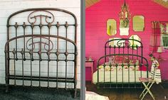 """3/4 Size  left in it's original """"green"""" finish, in a fun setting. #ironbeds #antiqueironbeds"""