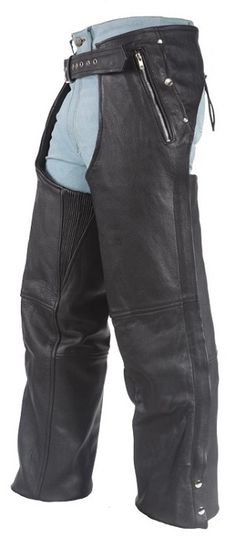 Leather Motorcycle Chaps with Removable Liner