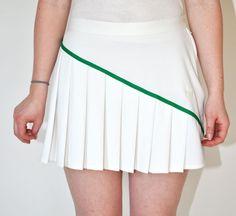 Vintage 1980s PLEATED Sergio Tacchini Tennis SKIRT in White Green Stripe. $13.00, via Etsy.
