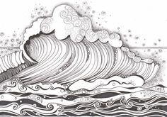 Diva's Challenge #181 Water. My inspiration was a picture of a wave. Made by Francine Derks #zentangle