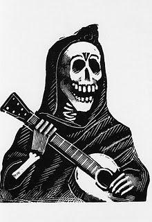 Chican-izmo: La Muerte, La Calaca, La Pelona: Jose Guadalupe Posada and Day of The Dead Davidson Galleries, Guitar Posters, Day Of The Dead Art, Mamie Van Doren, Mexican Folk Art, Grim Reaper, Skull Art, Skull Stencil, Custom Posters
