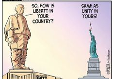 A cartoon compared between The Statue of Unity and The Statue of Liberty. Cartoon by Manjul, from Mumbai, India A Cartoon, Aesthetic Wallpapers, Unity, Statue Of Liberty, Mumbai, Statue Of Liberty Facts, Bombay Cat, Statue Of Libery