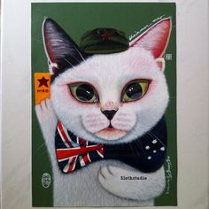 """35th painting of """"50 Meow Project"""" has done and delivered:  Title: Chairman Mao Artist: Ng Ling Tze aka Tamaow Medium: Acrylic On Canvas Size: 29.7cm x 21cm (A4) Year: 2015   Email: lingtze@slothstudio.com if interested to commission a pet painting or collaboration project :)  www.slothstudio.com"""