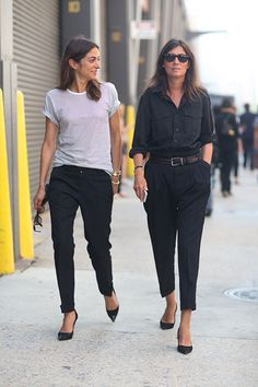 Emmanuelle Alt Black Top Pants New York Street Style Fashion Week Spring 2014 - New York Fashion Week Spring 2014 - Harper's BAZAAR