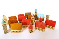 Vintage Miniature Wooden Village, $38