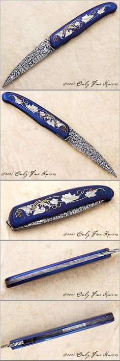 For Christmas:) Rick Eaton, Model 15 mosaic damascus blade with blued frame that has been arabesque engraved, relieved, and inlaid with 24K gold
