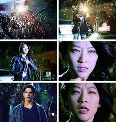 "S3 Ep19 ""Letharia Vulpina"" - Scott saw Kira's eyes glow a bright orange."