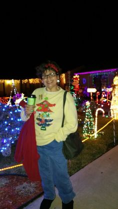 Me, sporting my holiday ugly Christmas sweatshirt 2014.