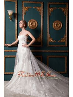 Beautiful A-line Strapless Cathedral Train Tulle Beading Wedding Dress  http://www.fashionos.com  http://www.facebook.com/fashionos.us  fashionable bridal gown for 2013 | white wedding dress with beading | white dress for outdoor wedding | free shipping bridal gown | strapless sleeveless wedding bridal gown | special wedding dress for garden wedding | wedding dress with beading and appliques | affordable wedding dress with beading and appliques | exquisite wedding dress for wholesale