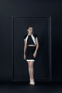 Between the line Short top Crop – Casual shine vivid body but classy is still indeed on the mate fabric and a gold-zipper   Dark illusion short Pencil Skirts – Formal appear under black and white for every event. #fashion #fashiondesign #fashiondesigner #Thaidesigner #readytowear #aw2014 #MUETTA #Thailand