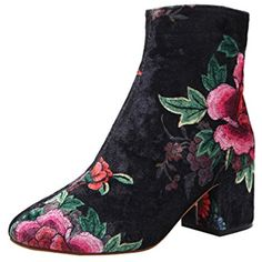 Suede Block Heel Boot Women Stitching Ankle Boots Chunky Block Heel Bootie * More info could be found at the image url. (This is an affiliate link) #AnkleBootie