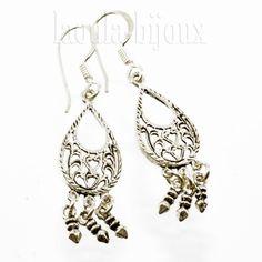Boucles d'oreilles orientales en argent, bijoux ethniques filigrane L01- Laoula