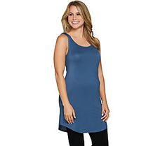 LOGO Layers by Lori Goldstein Petite Curved Hem Knit Tank
