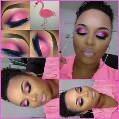 Flamingo pink smokey eye with a blue liner