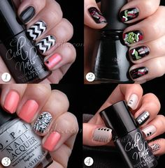 Beautiful skittlette manicures by Marta of ChitChatNails.