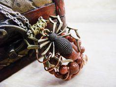 Spider Goldstone Gemstone Pendant  handmade by HiddenTreasury12, $30.00