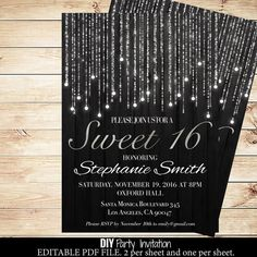 Black and silver sweets birthday invitations by DIYPartyInvitation #sweets #sweetinvitations #blackandsilver