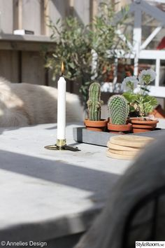 Uteplats/trädäck - Hemma hos Anneliesdesign Pergola, Candles, Blog, Design, Outdoor Pergola, Candy, Blogging, Candle Sticks