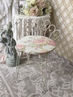 Shabby Metal twisted Iron Vanity Chair Ice Cream by Fannypippin