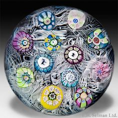 Perthshire Paperweights 1972 spaced millefiori on upset muslin paperweight. - Paperweights - Perthshire Paperweights - The Glass Gallery