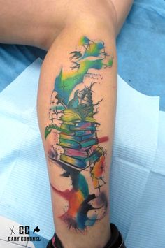 Books watercolor tattoo
