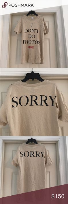 Justin Bieber Purpose Tour X Fear of God tshirt Fear of God rock tour tee, hand distressed, perfect for the street grunge/fog/Jerry Lorenzo/Kanye style. Unisex. This is same as other listing - that's just under men. NO TRADES, willing to sell in person in San Francisco. Fear of God Tops Tees - Short Sleeve