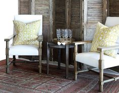 La Grange Interiors chairs and pillows African Interior, Dining Chairs, Dining Room, Interior Decorating, Interior Design, Wingback Chair, Dreaming Of You, Gazebo, Family Room