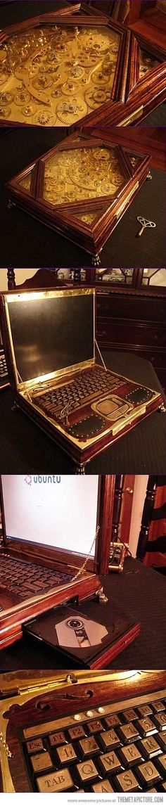 I know I've pinned this before, but it's awesome enough to pin again. I want my laptop fitted in the steampunk style like this!