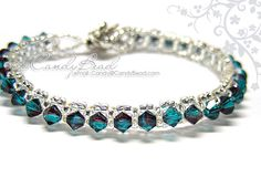 Swarovski Crystal Bracelet - Burgundy-Blue Zircon Blend Single Row Bracelet by CandyBead Beaded Bracelet Patterns, Woven Bracelets, Crystal Bracelets, Crystal Jewelry, Jewelry Bracelets, Jewlery, Swarovski Bracelet, Beaded Earrings, Swarovski Crystals