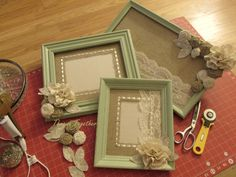 """In """"My Nest"""" this week... Redesigning frames, handcrafted embellishments & custom mats being added to this set of sage frames."""