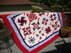 Patriotic quilt I donated to the 40&8, an elite veterans group, for a nursing scholarship fundraiser.